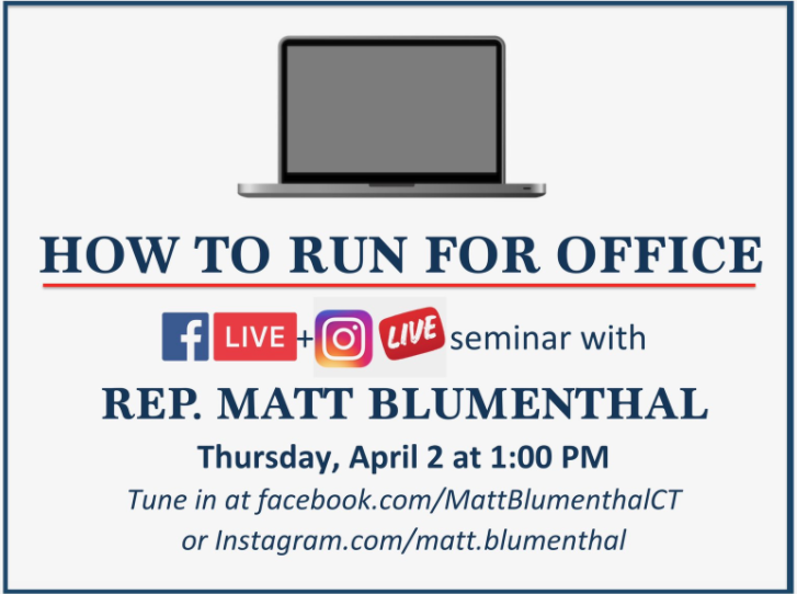 Matt Blumenthal on how to run for office Facebook Live seminar