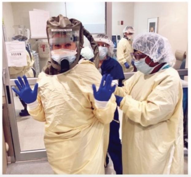 PPE on two nurses at St. Vincent's Medical Center