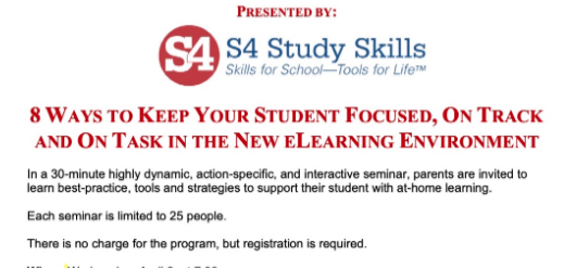 S4 Study Skills for Students Tuesday April 7 2020 seminar times