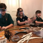 Darien Scouts make PPE Face Shields COVID-19 Coronavirus 2020