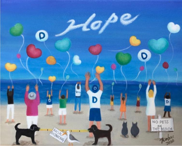 Nobu Miki COVID-19 painting Hope