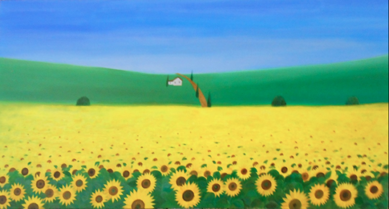 Sunflowers in a painting by Nobu Miki