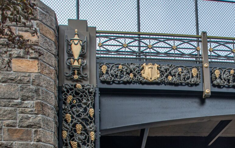 Lake Avenue Bridge Greenwich over Merritt Parkway black and gold metalwork restored