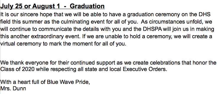 Last part of Dunn's email on May 27 2020 Graduation