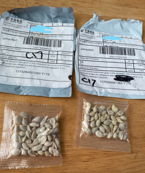 Chinese seeds unsolicited