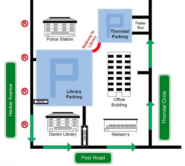 Darien Library parking lot map