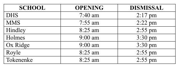 School Opening Times 2020