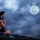 Yoga moon craggy mountains