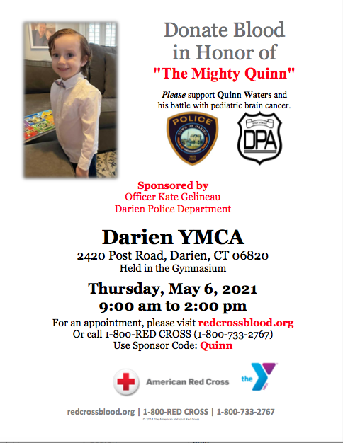 Poster for Quinn Waters Blood Drive 5/6/21