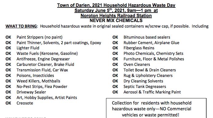 Household Hazardous bring tips 2021