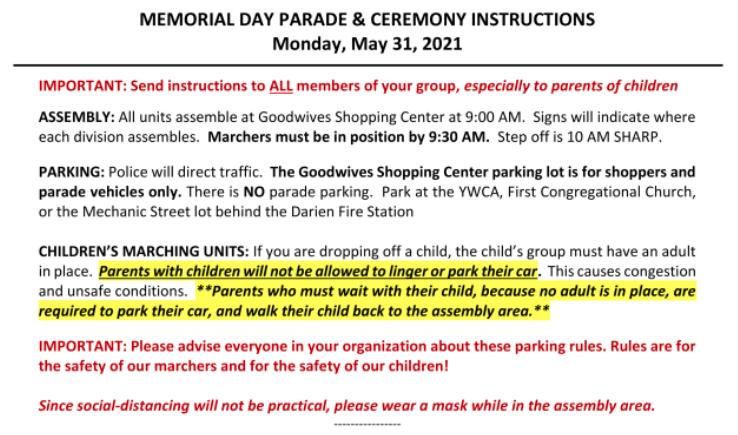 Mem Day parade instructions part 1 2021