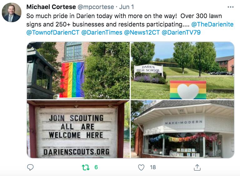 Michael Cortese tweet many gay pride signs