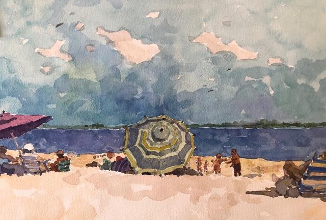 Derek Buckner Beach Day, Green Umbrella