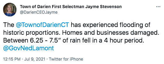 Tweet at 12:15 p.m., Friday, July 9, 2021 on flooding rain
