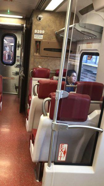 Unmasked Metro-North train