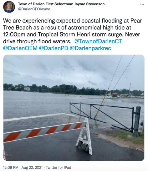Pear Tree Beach floods 12:09 p.m. tweet Jayme Stevenson