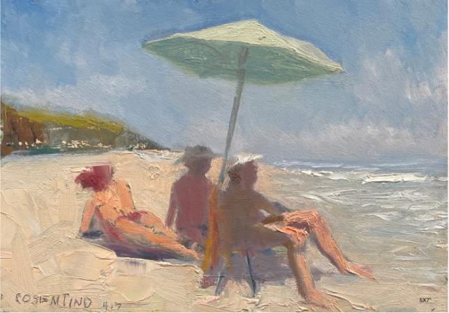 """Steve Cosentino, """"Beach Series"""" (Green umbrella Threesome), Oil on Board, 5x7"""", $300"""